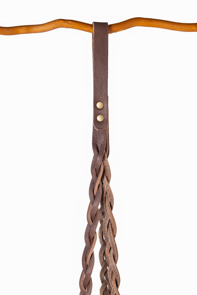 Plant Hanger Braided Brown Leather w/ Antique Brass - Large