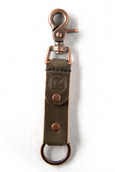 Key Ring in Military Green Leather with Copper Clip and Black Stitching