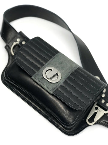 Moto Hip Pack in Black with Grey Stripe Leather and Silver Hardware