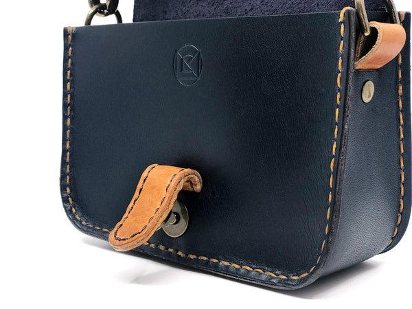 Solnedgang Dual Belt Bag and Crossbody - Navy and Tan Magnetic