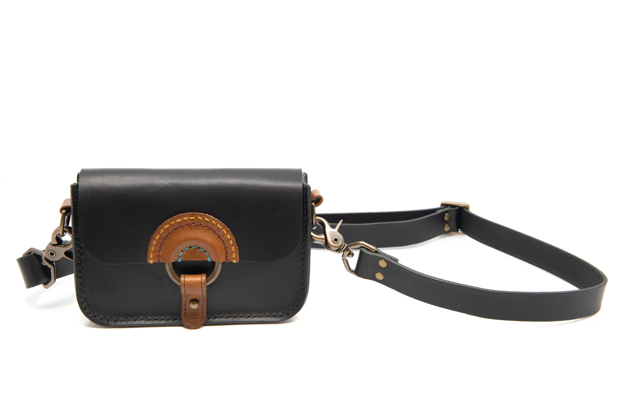Solnedgang Dual Belt Bag and Crossbody - Black Rainbow and Brass