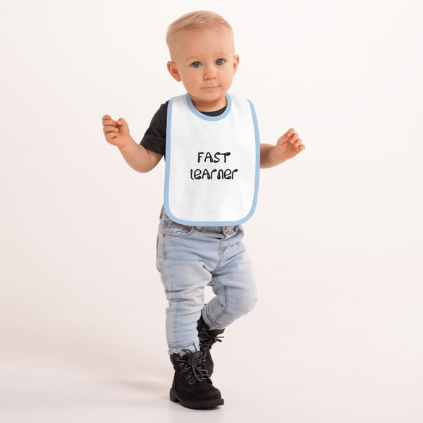 Fast Learner Embroidered Baby Bib
