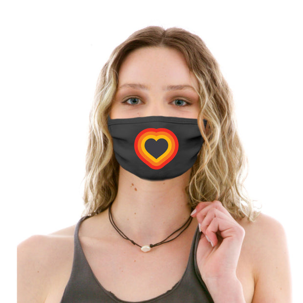 Adult Cotton Protective Mask with Retro Heart