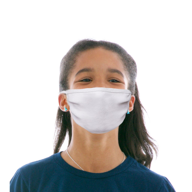 Kids Cotton Protective Mask in Plain White