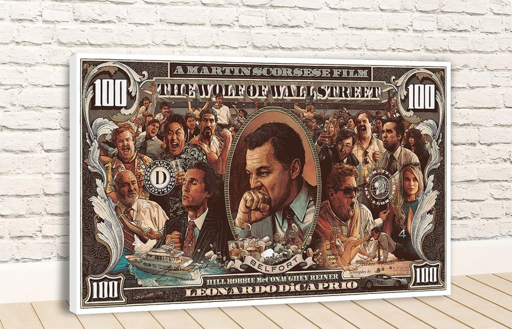 Wolf Of Wall Street 100 Dollar Bill Canvas
