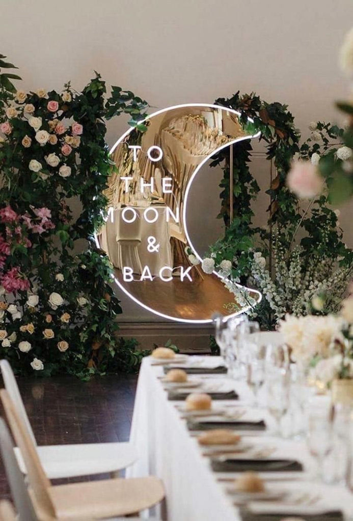 To The Moon & Back Mirror Neon Sign