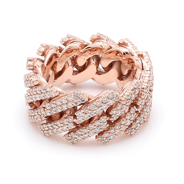 10K Solid Rose Gold Diamond Cuban Link Ring