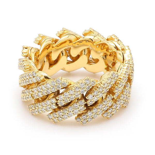 10K Solid Yellow Gold Diamond Cuban Link Ring