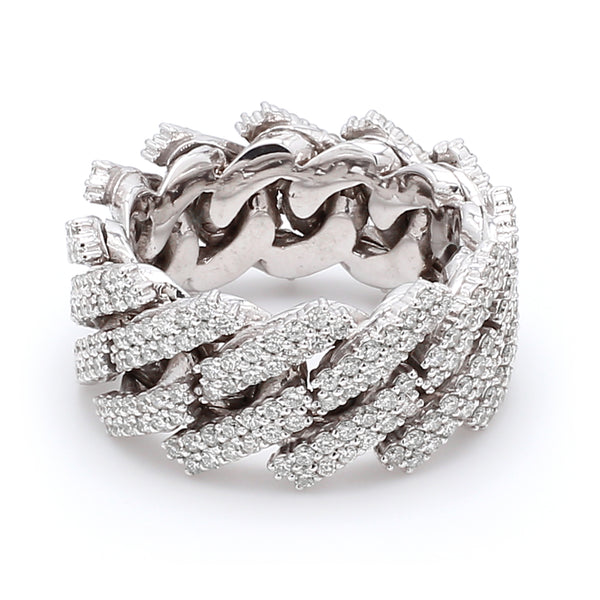 10K Solid White Gold Diamond Cuban Link Ring