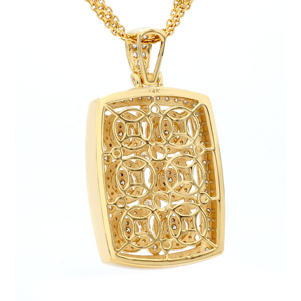 14K Yellow Gold Diamond Six Gear Pendant