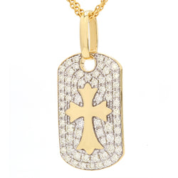 14K Yellow Gold Diamond Crucifix Tag