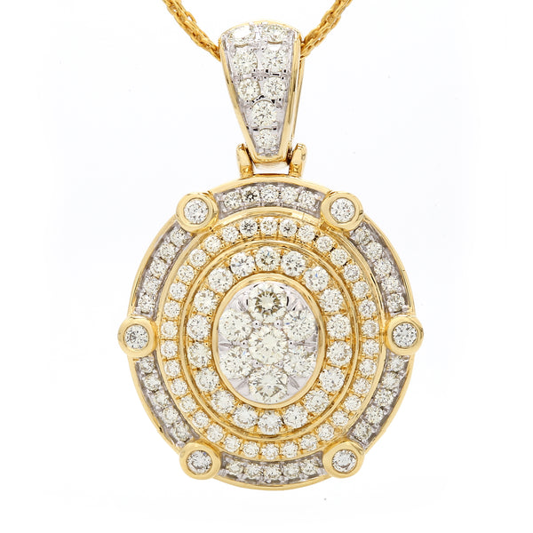 14K Yellow Gold Diamond Coliseum Pendant