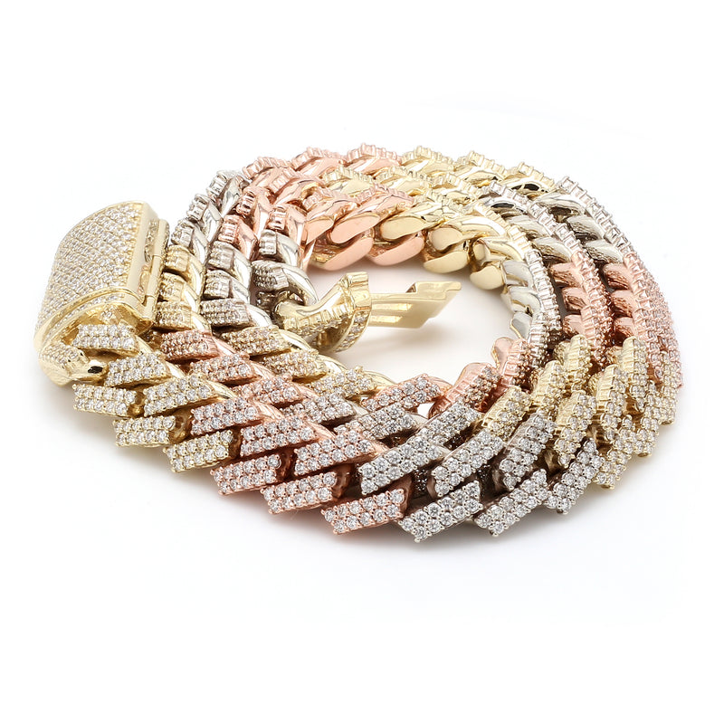 Three Tone 10K Solid Gold Diamond Cuban Chain