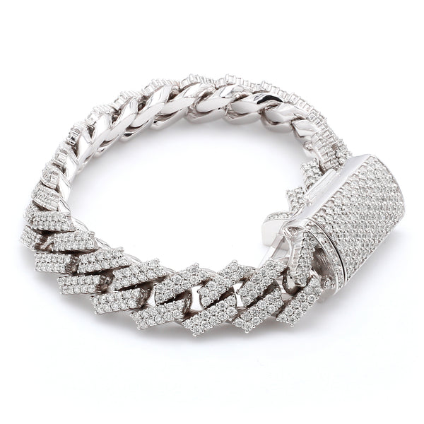 10K Solid White Gold Diamond Cuban Link Bracelet