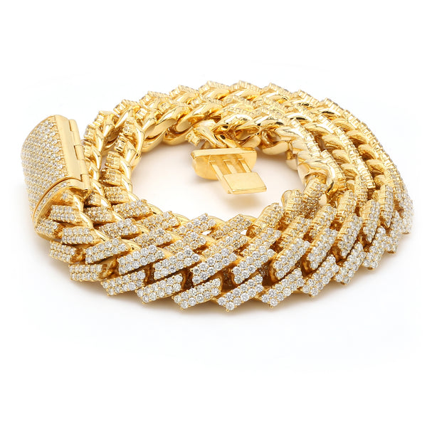 10K Solid Yellow Gold Diamond Cuban Chain