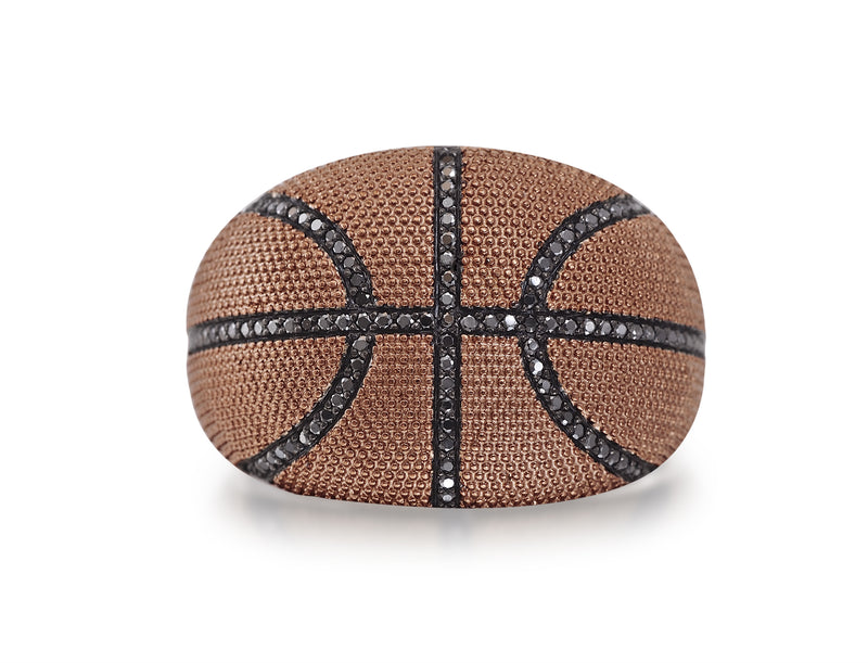 Slam Dunk Basketball Brown Rhodium Plated Sterling Silver Black Diamond Ring