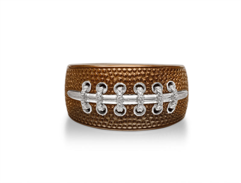 Hustle & Tackle Brown Rhodium Plated Sterling Silver American Football Diamond Ring