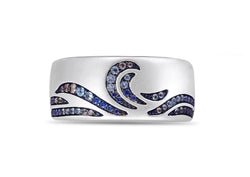 Surf's Up Sterling Silver Blue Sapphire & Topaz Band Ring