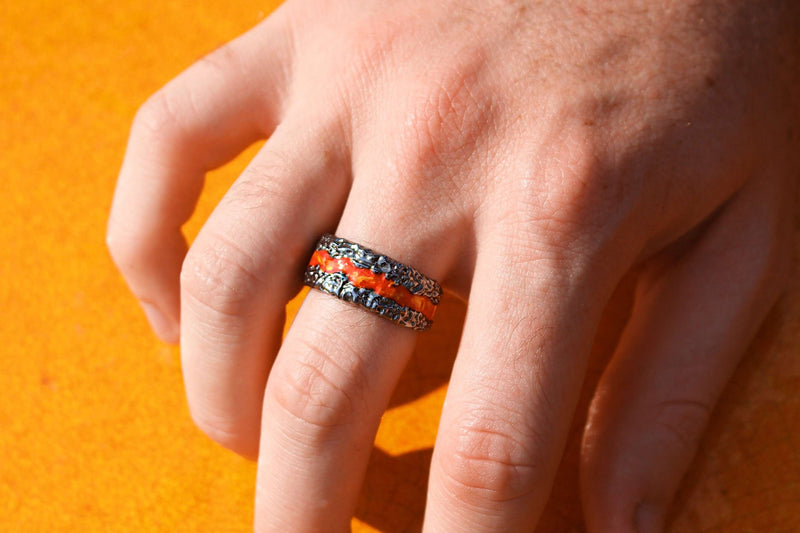 Fire in My Soul Black Rhodium Plated Sterling Silver Textured Red Orange Enamel Band Ring