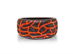 Rivers of Fire Black Rhodium Plated Sterling Silver Textured Red Orange Enamel Band Ring