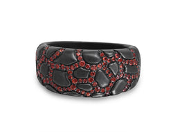Fiery Ascent Black Rhodium Plated Sterling Silver Textured Band Ring with Garnets