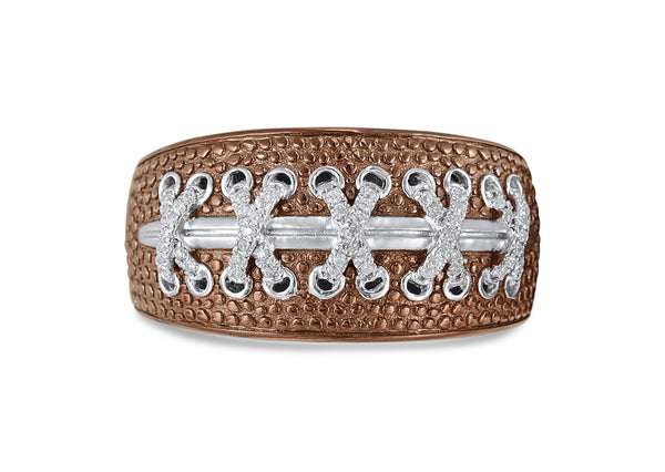 Touchdown American Football Brown Rhodium Plated Sterling Silver Diamond Ring
