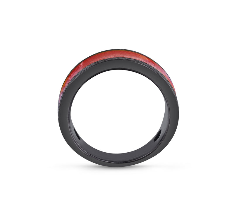 Mista Lava Black Rhodium Plated Sterling Silver Textured Red Orange Enamel Band Ring