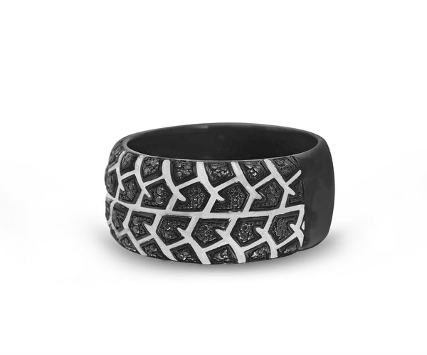 Born Drifter Black Rhodium Plated Sterling Silver Tire Tread Black Diamond Band Ring