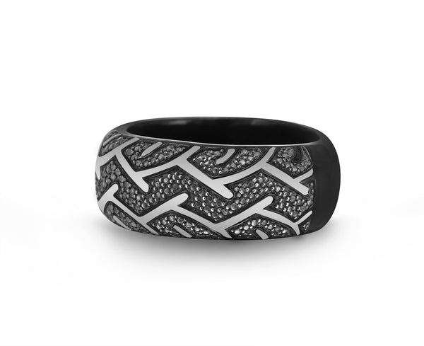American Muscle Black Rhodium Plated Sterling Silver Tire Tread Black Diamond Band Ring