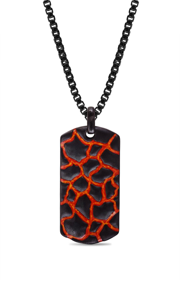 Earth & Fire Black Rhodium Plated Sterling Silver Textured Red Orange Enamel Tag