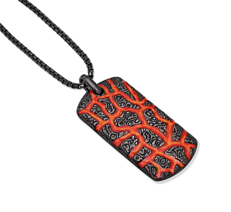 Rivers of Fire Black Rhodium Plated Sterling Silver Textured Red Orange Enamel Tag