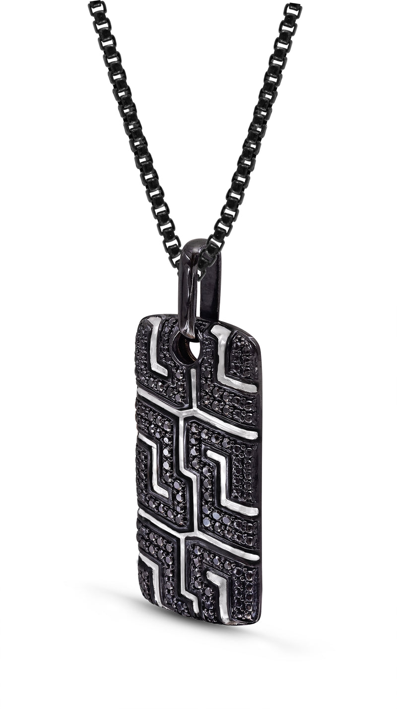 Pro Rider Black Rhodium Plated Sterling Silver Tire Tread Black Diamond Tag