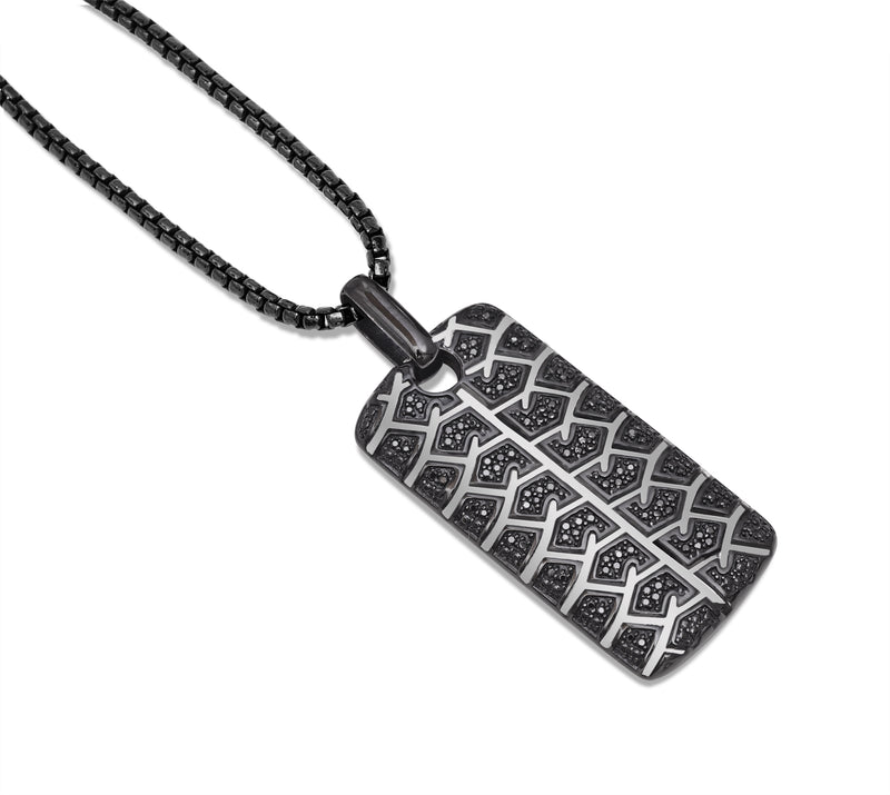 Born Drifter Black Rhodium Plated Sterling Silver Tire Tread Black Diamond Tag