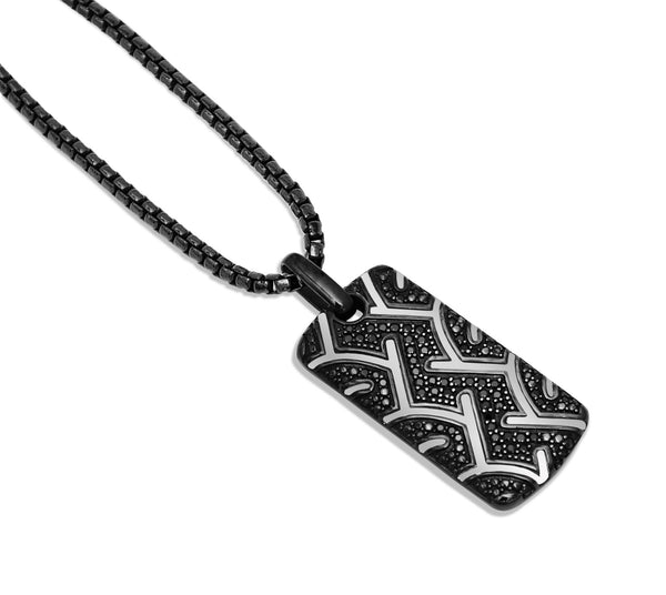 American Muscle Black Rhodium Plated Sterling Silver Tire Tread Black Diamond Tag