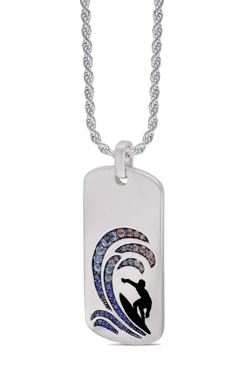 Surfer's Paradise Sterling Silver Blue Sapphire & Topaz Stone Tag