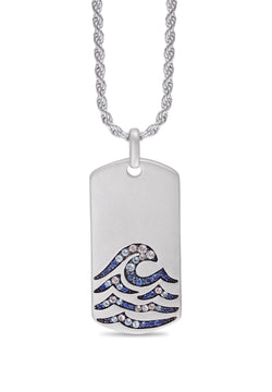 Breaking Waves Sterling Silver Blue Sapphire & Topaz Stone Tag