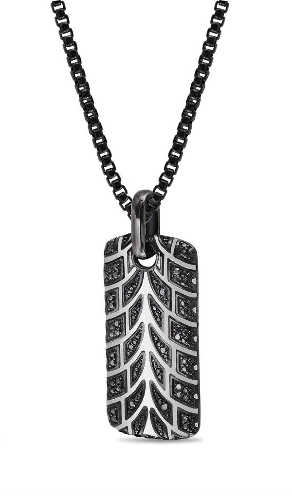 Racer Swag Black Rhodium Plated Sterling Silver Tire Tread Black Diamond Tag