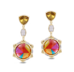 Girl on Fire Citrine & Diamond Mosaic Earrings in 14K Yellow Gold Plated Sterling Silver
