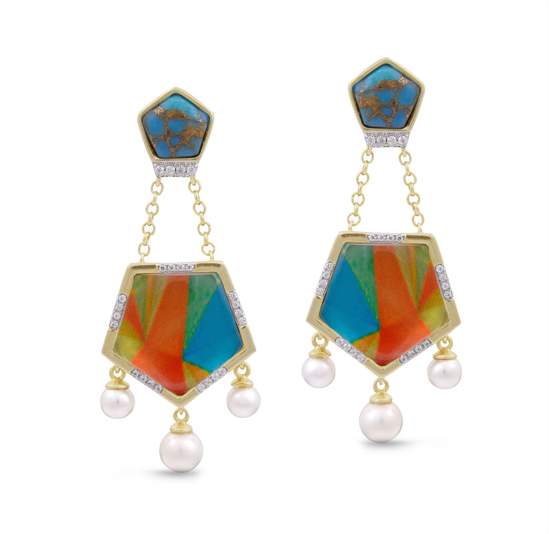 Wild & Free Diamond Mosaic Turquoise Earrings with Pearls in 14K Yellow Gold Plated Sterling Silver