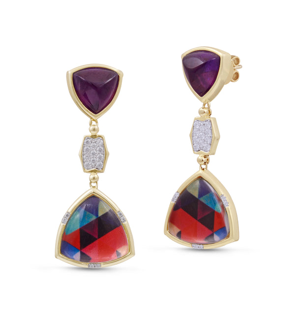 Love Me Not Amethyst Diamond Mosaic Earrings in 14K Yellow Gold Plated Sterling Silver
