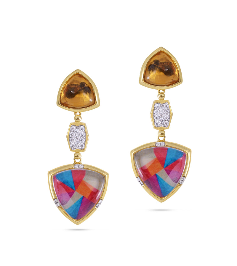 Colorful Canvas Diamond & Citrine Earrings in 14K Yellow Gold Plated Sterling Silver