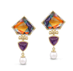 Mysterious Mayhem Amethyst & Pearl Diamond Drop Earrings in 14K Yellow Gold Plated Sterling Silver