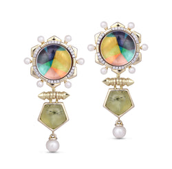 Gypsy Soul Prehnite & Pearl Diamond Earrings in 14K Yellow Gold Plated Sterling Silver