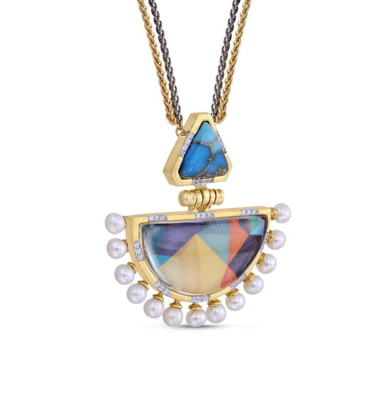 My Colorful Legacy Turquoise & Pearl Diamond Necklace in 14K Yellow Gold Plated Sterling Silver