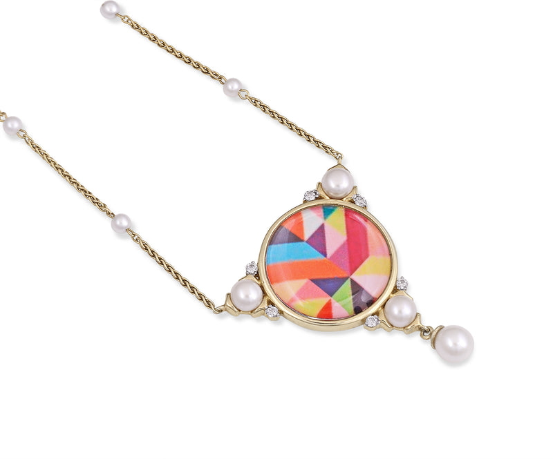 Pops of Passion Pearl & Diamond Mosaic Necklace in 14K Yellow Gold Plated Sterling Silver