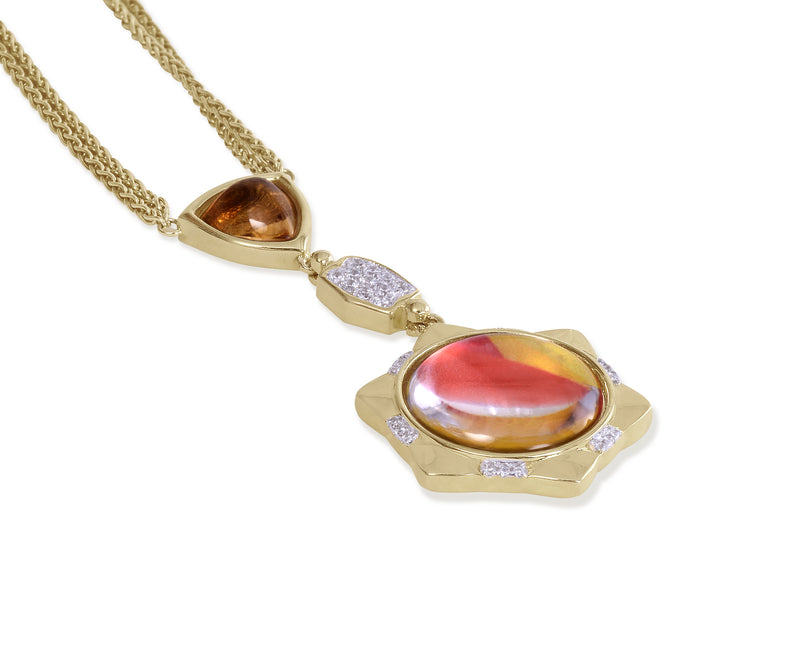 Girl on Fire Citrine & Diamond Mosaic Necklace in 14K Yellow Gold Plated Sterling Silver