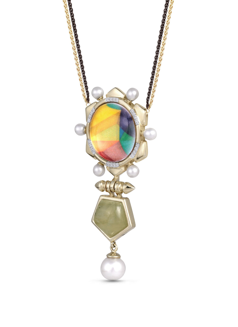 Gypsy Soul Prehnite & Pearl Diamond Necklace in 14K Yellow Gold Plated Sterling Silver