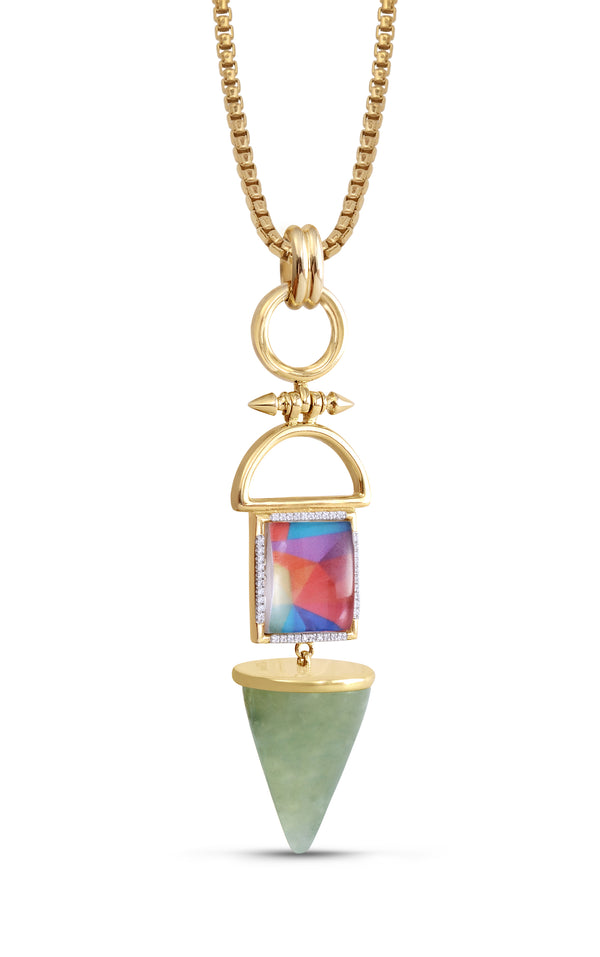 Splashy Flashy Prehnite & Diamond Mosaic Necklace in 14K Yellow Gold Plated Sterling Silver