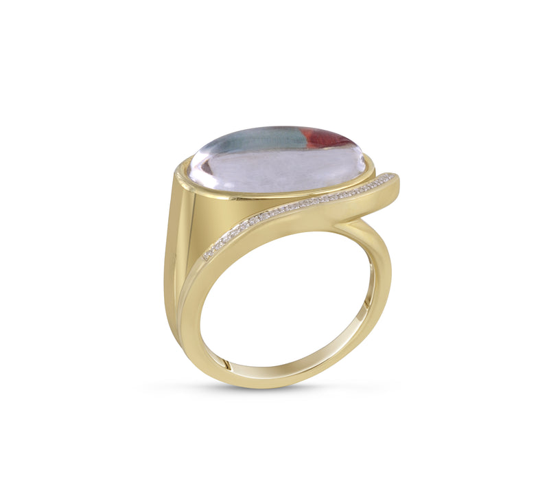 Drama Queen Oval Diamond Mosaic Ring in 14K Yellow Gold Plated Sterling Silver