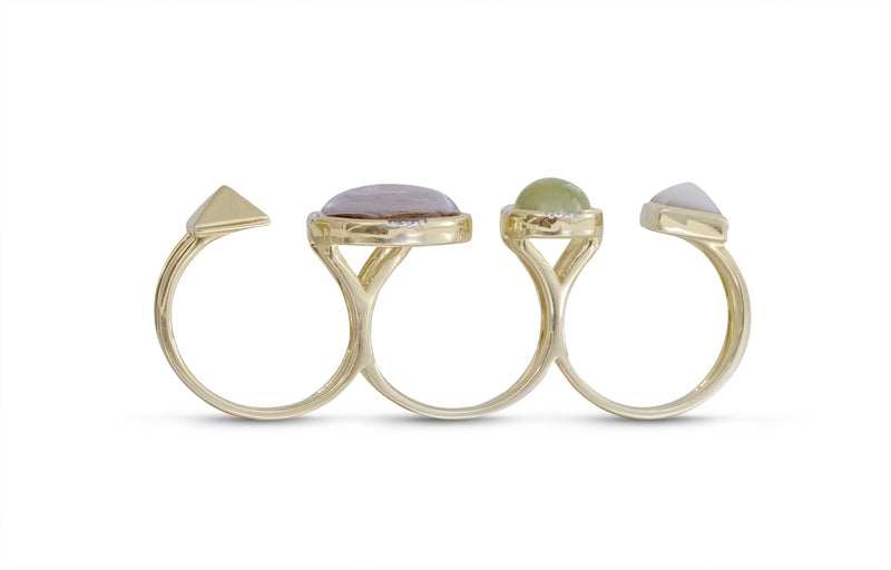 Envy Me Multifinger Prehnite & Moonstone Diamond Open Ring in 14K Yellow Gold Plated Sterling Silver